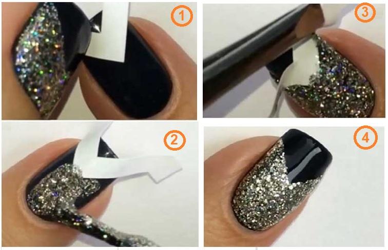 Glitter V-Tip Nail polising